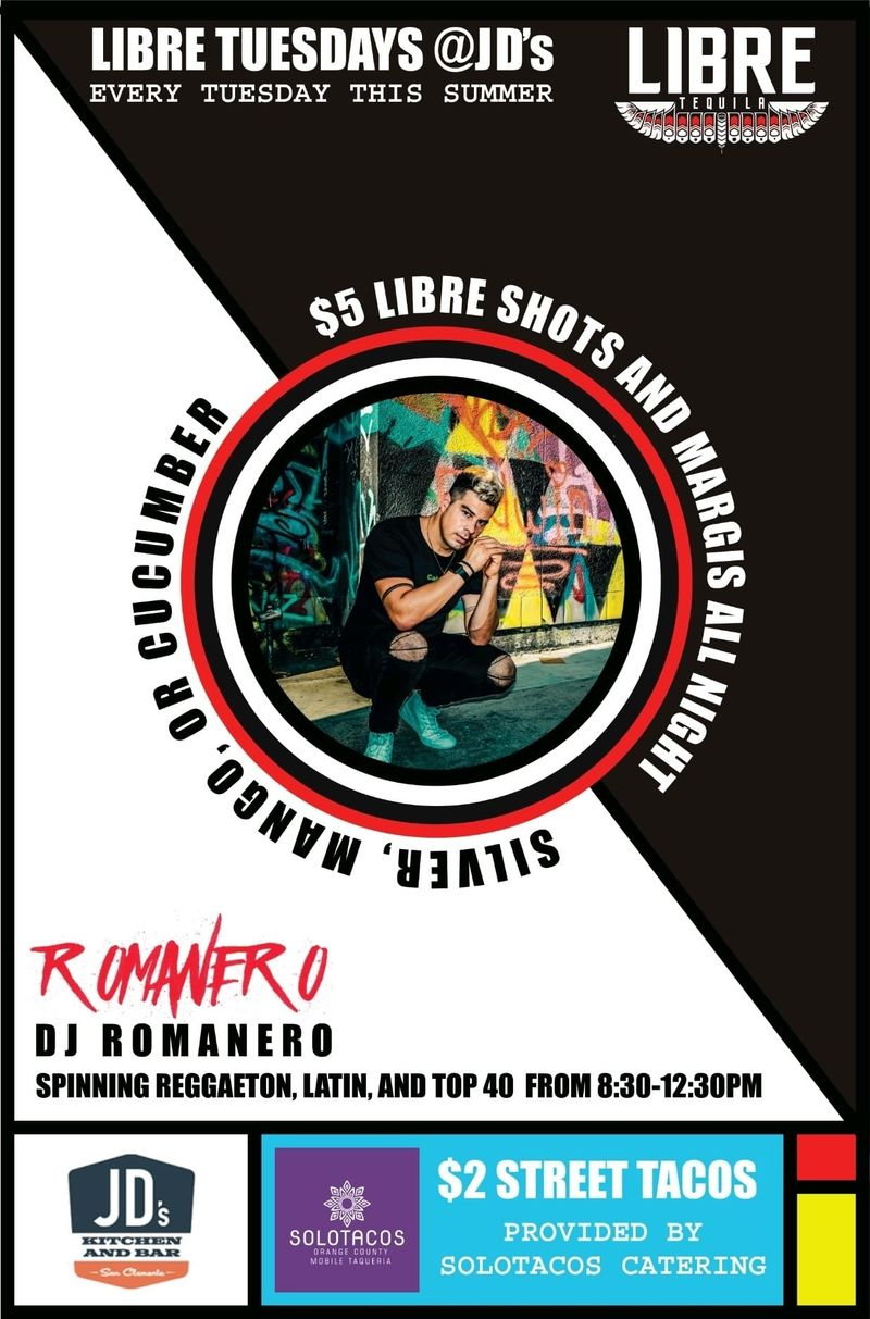 Libre Tuesdays!!   Live DJ Spinning Regaton Latin music!!