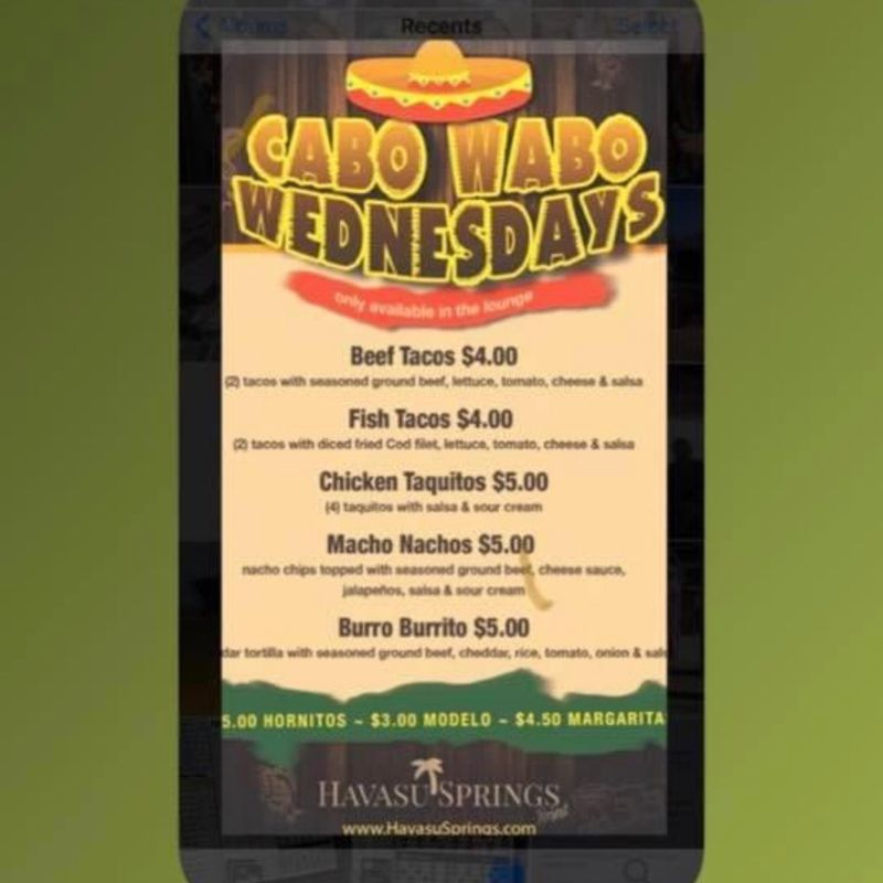 Cabo Wabo Wednesday Specials !!