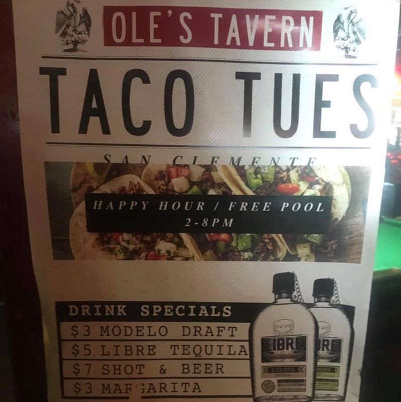 Taco Tuesday from 2-8pm