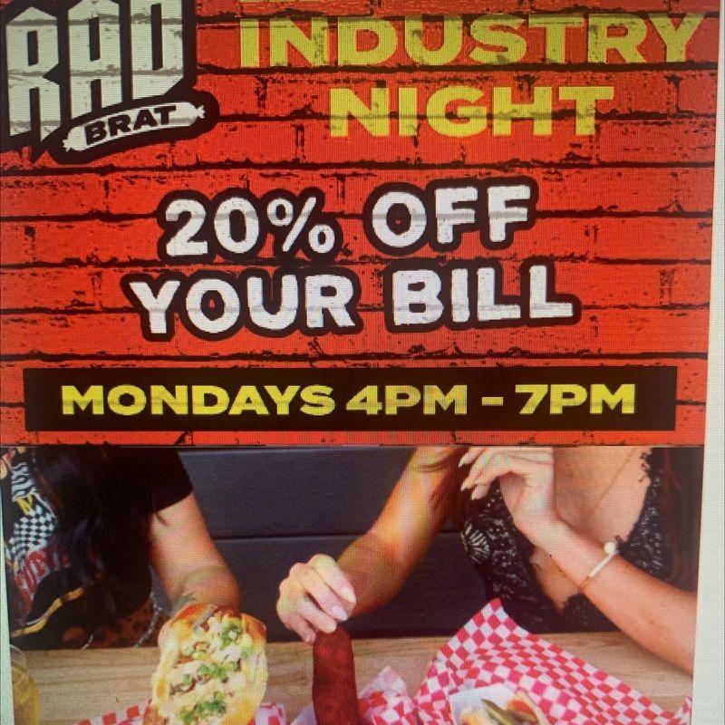 Industry Night Specials!!  20% Off