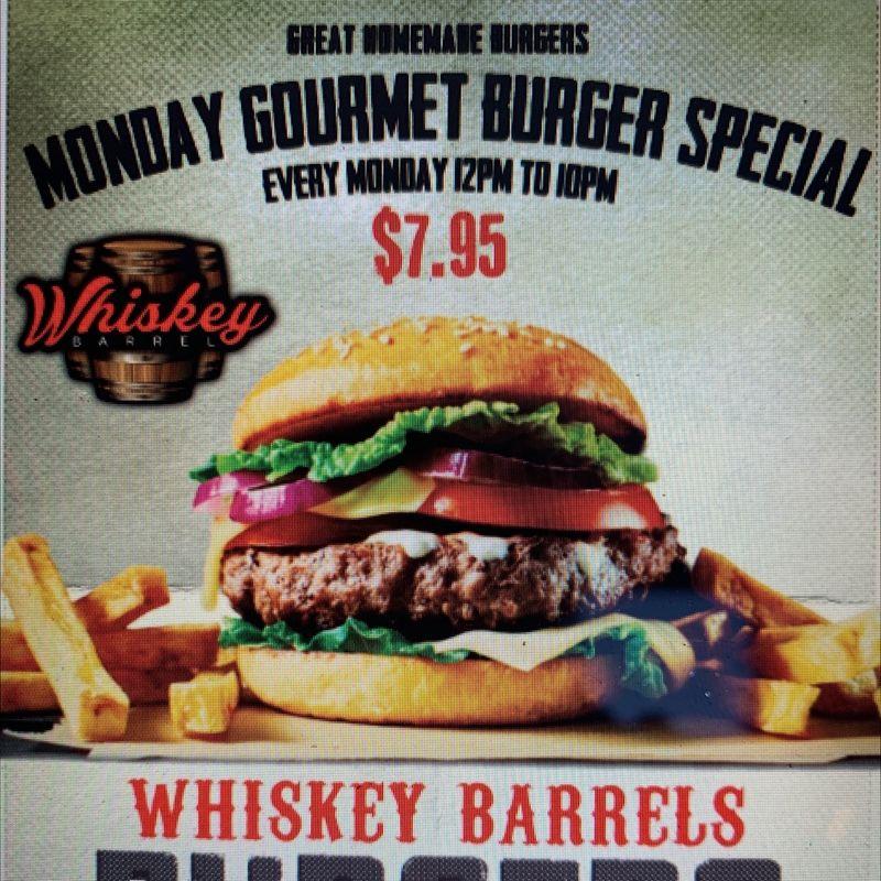 Monday Gourmet Burger Specials!!  12-10